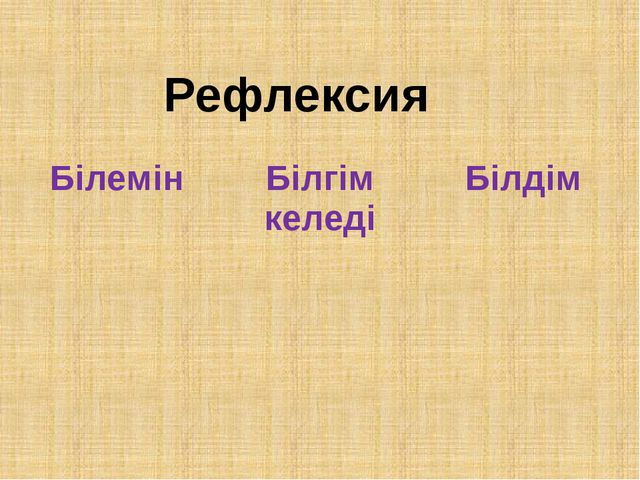 Рефлексия Білемін Білгім келеді Білдім