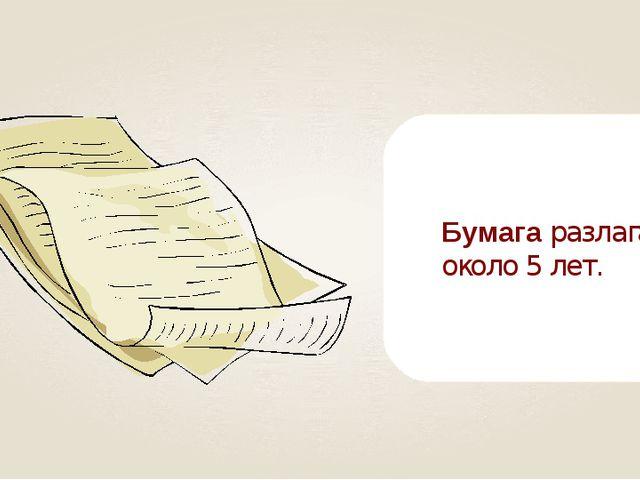 Бумага разлагается около 5 лет.