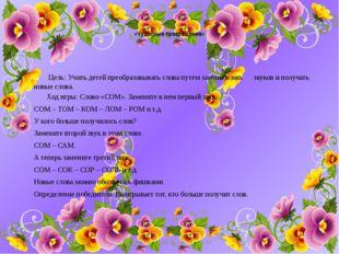 «Чудесные превращения» Цель: Учить детей преобразовывать слова путем замены