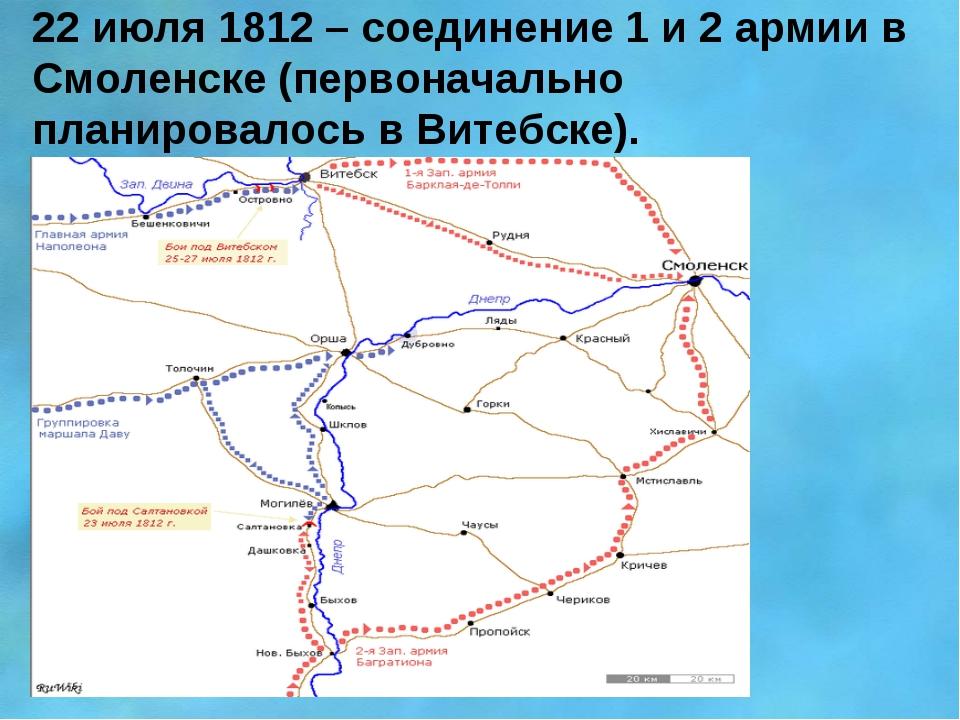22 июля 1812 – соединение 1 и 2 армии в Смоленске (первоначально планировалос...