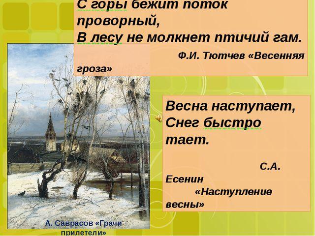 Весна наступает, Снег быстро тает. С.А. Есенин «Наступление весны» С горы бе...