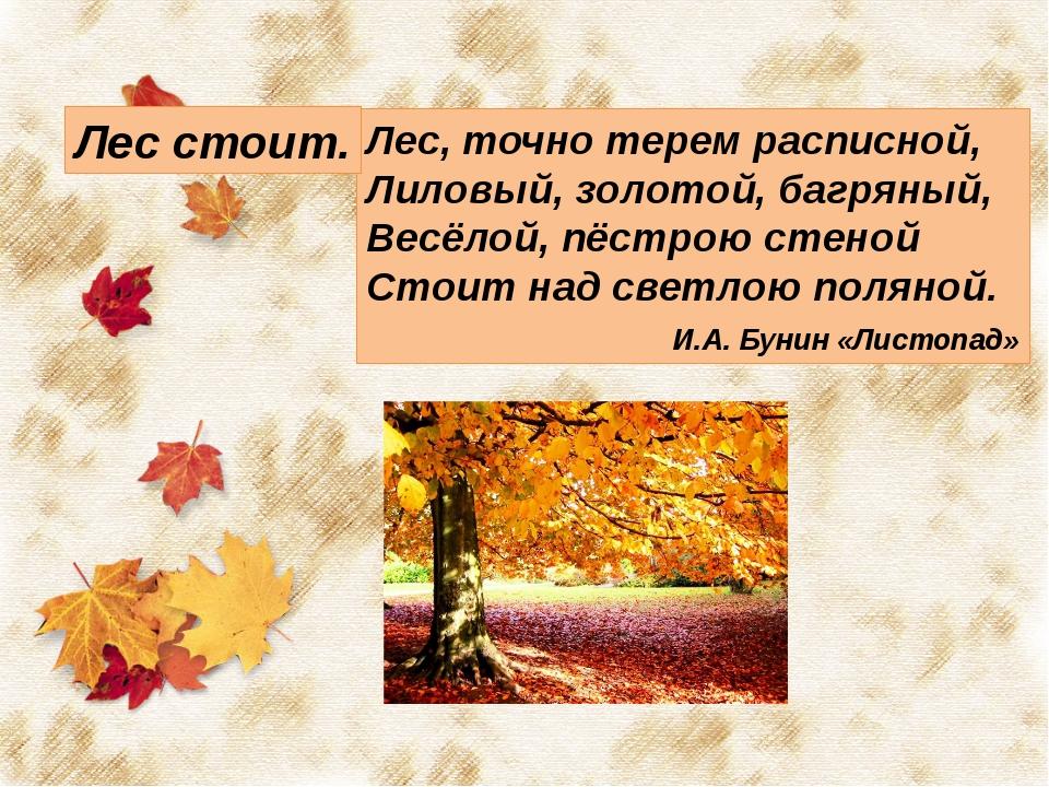 Лес, точно терем расписной, Лиловый, золотой, багряный, Весёлой, пёстрою сте...