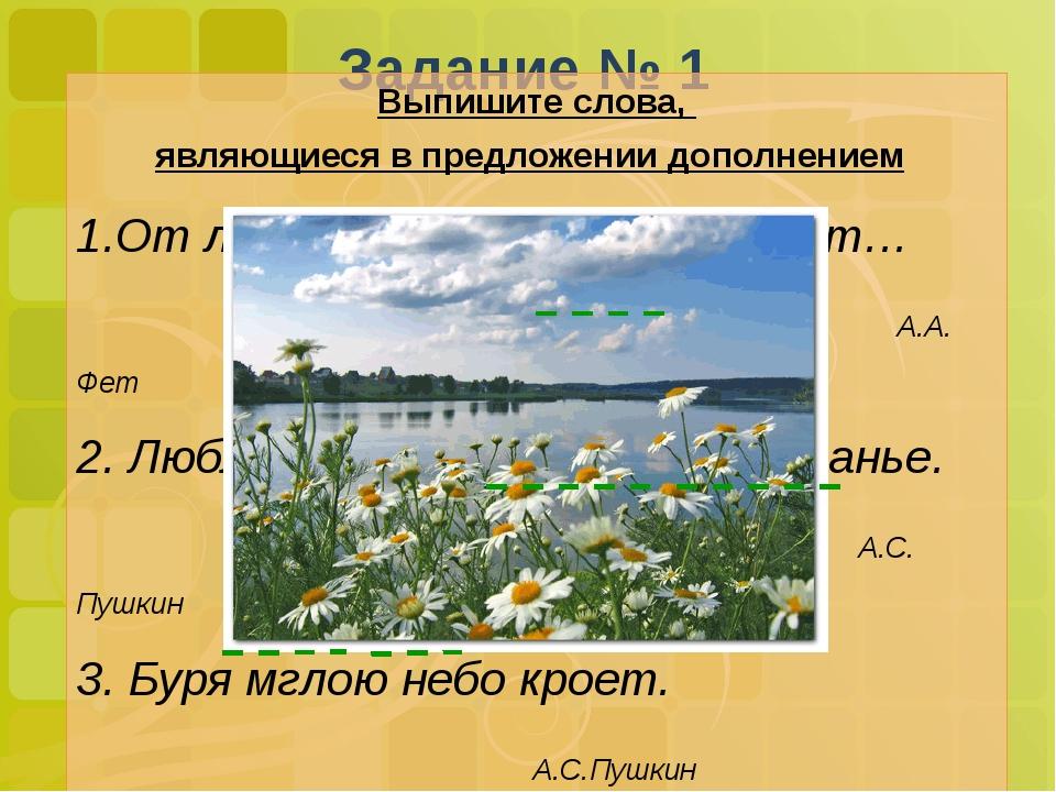 Задание № 1 Выпишите слова, являющиеся в предложении дополнением От лип души...
