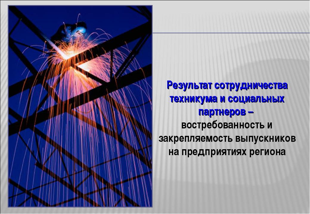 Результат сотрудничества техникума и социальных партнеров – востребованность...