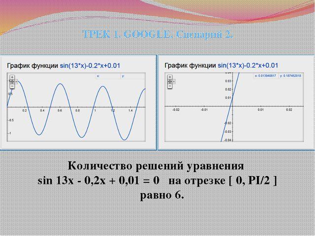 Количество решений уравнения sin 13x - 0,2x + 0,01 = 0 на отрезке [ 0, PI/2 ]...