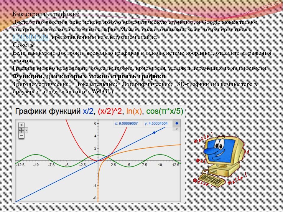 Как строить графики? Достаточно ввести в окне поиска любую математическую фун...
