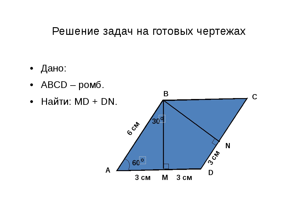 Решение задач на готовых чертежах Дано: АВСD – ромб. Найти: MD + DN. D C B A...