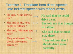 Exercise 1. Translate from direct speech into indirect speech with modal verb