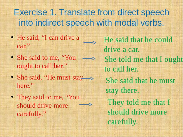 Exercise 1. Translate from direct speech into indirect speech with modal verb...