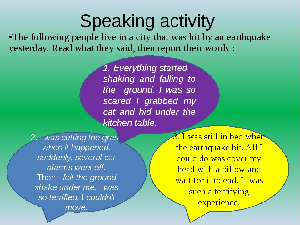 Speaking activity The following people live in a city that was hit by an eart...