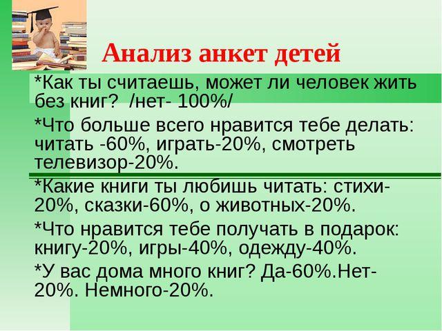 Анализ анкет детей *Как ты считаешь, может ли человек жить без книг? /нет- 10...