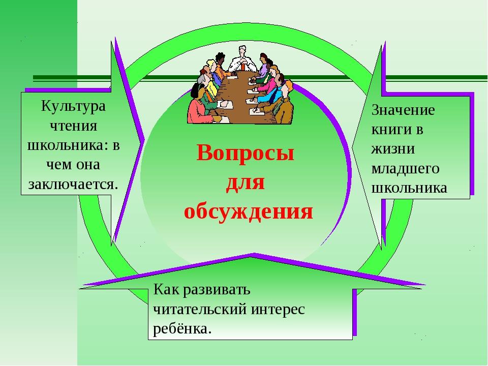 Вопросы для обсуждения Культура чтения школьника: в чем она заключается. Как...