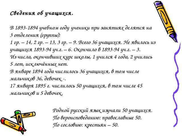 Родной русский язык изучали 50 учащихся. По вероисповеданию: православные 50....