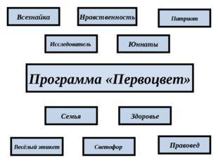 Программа «Первоцвет» Патриот Юннаты Нравственность Здоровье Правовед Всезнай