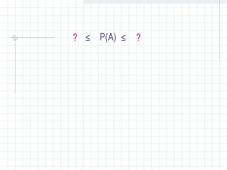 Р(А) ≤ ≤ ? ?