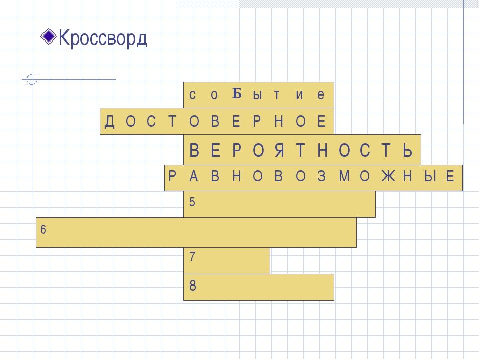 Кроссворд соБытие ДОСТОВЕРНОЕ В...