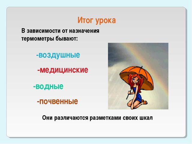Итог урока В зависимости от назначения термометры бывают: -воздушные -медицин...
