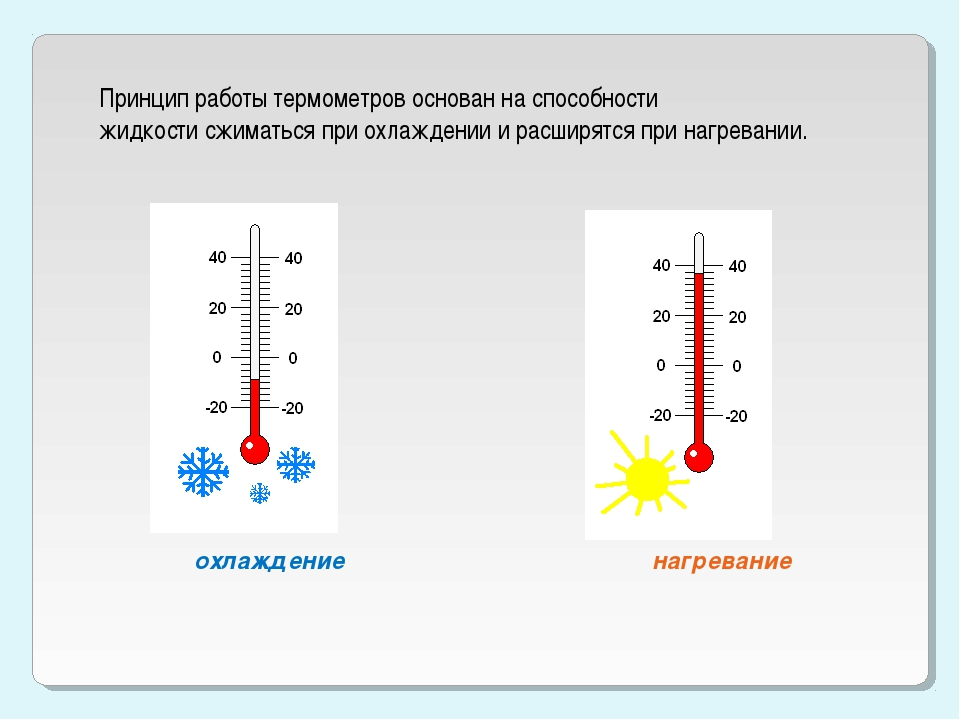 Принцип работы термометров основан на способности жидкости сжиматься при охла...