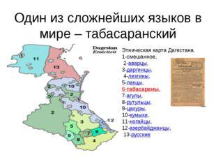 Один из сложнейших языков в мире – табасаранский Этническая карта Дагестана.