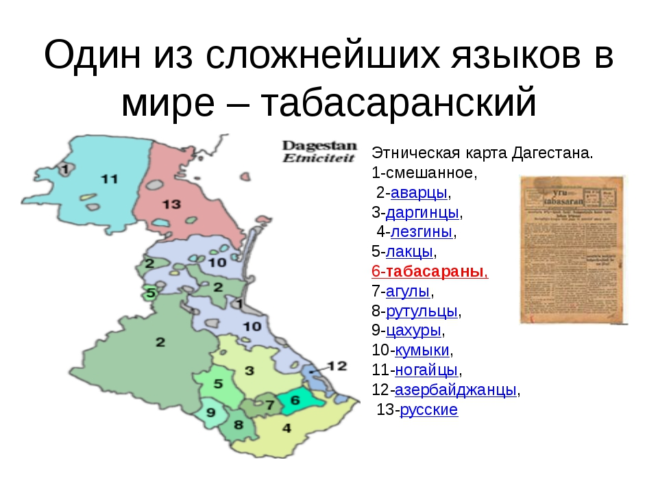 Один из сложнейших языков в мире – табасаранский Этническая карта Дагестана....