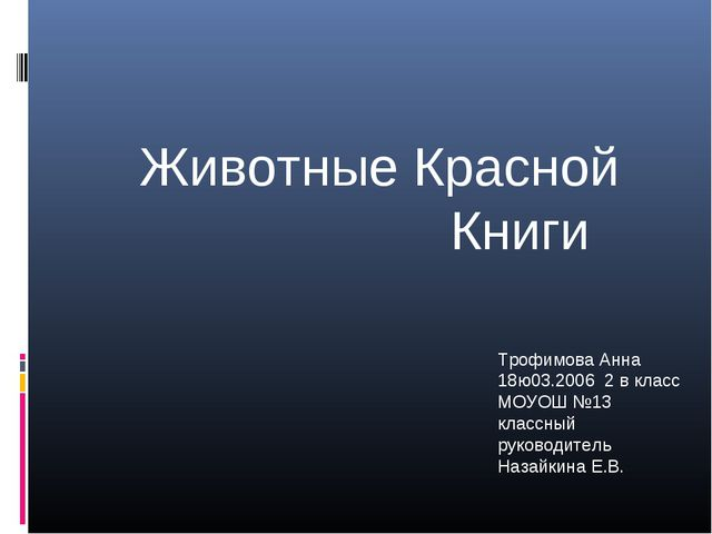 Трофимова Анна 18ю03.2006 2 в класс МОУОШ №13 классный руководитель Назайкин...