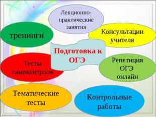 Тесты самоконтроля Консультации учителя Подготовка к ОГЭ тренинги Репетиция О
