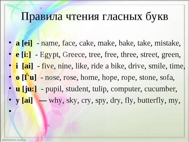 Правила чтения гласных букв a[ei] -name, face, cake, make, bake, take, mis...