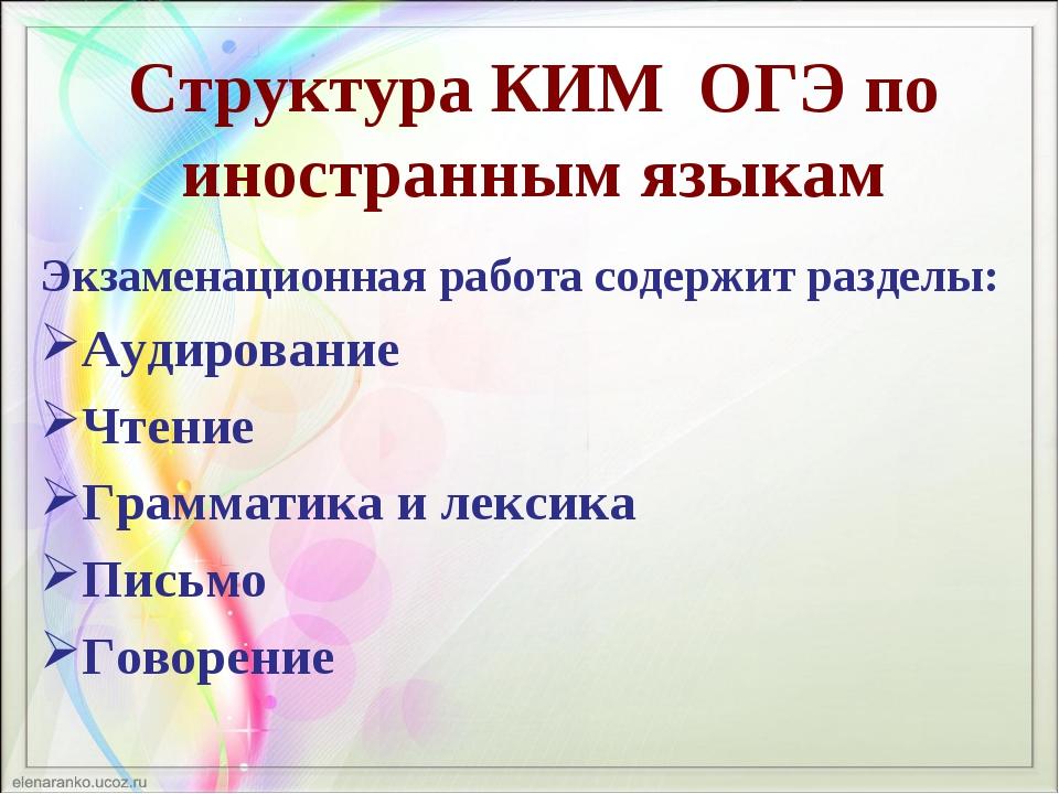 Структура КИМ ОГЭ по иностранным языкам Экзаменационная работа содержит разде...
