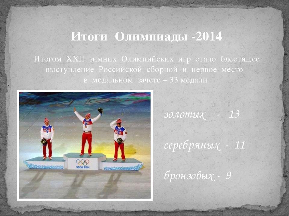 Итоги Олимпиады -2014 Итогом XXII зимних Олимпийских игр стало блестящее выст...