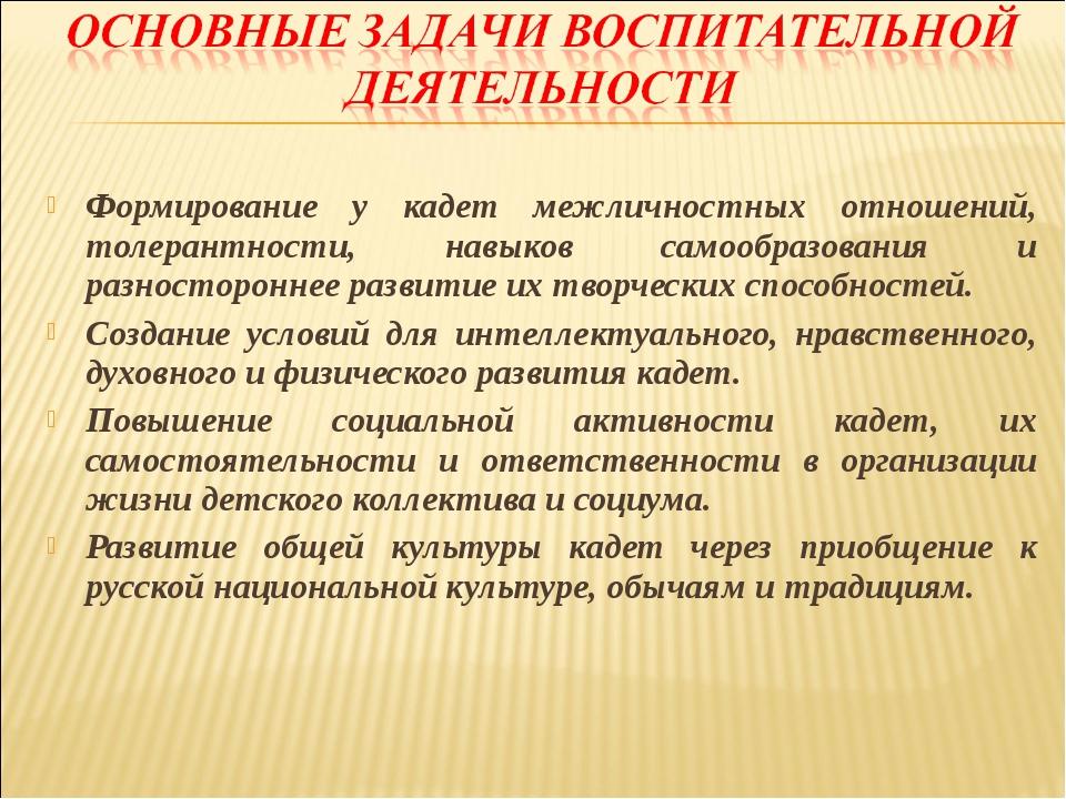 Формирование у кадет межличностных отношений, толерантности, навыков самообра...