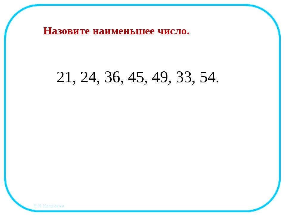 21, 24, 36, 45, 49, 33, 54. Назовите наименьшее число.