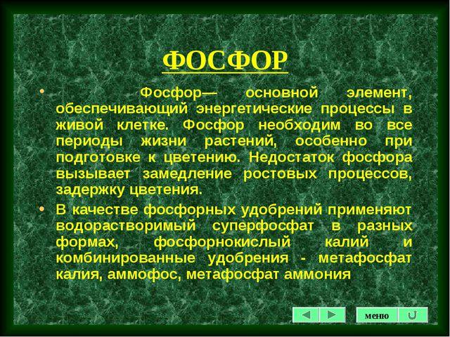 ФОСФОР Фосфор— основной элемент, обеспечивающий энергетические процессы в жив...