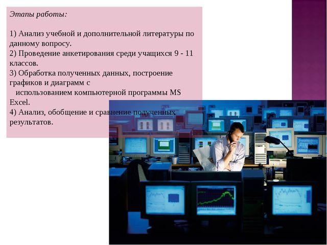 Этапы работы: 1) Анализ учебной и дополнительной литературы по данному вопрос...