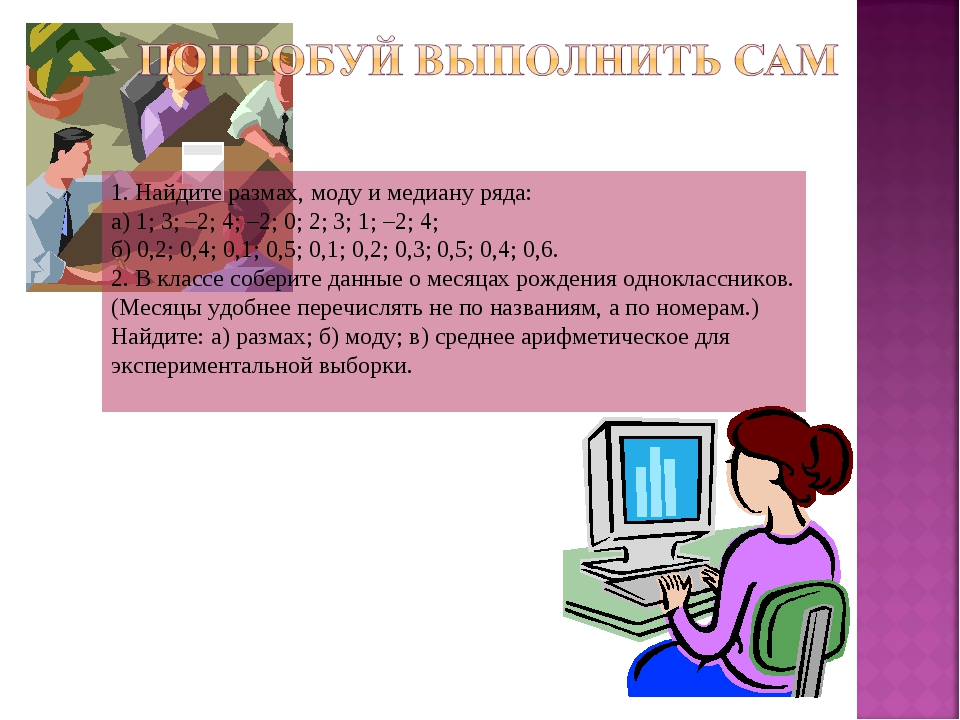 1. Найдите размах, моду и медиану ряда: а) 1; 3; –2; 4; –2; 0; 2; 3; 1; –2; 4...
