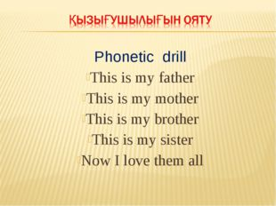 Phonetic drill This is my father This is my mother This is my brother This is