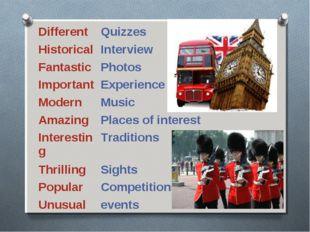 DifferentQuizzes HistoricalInterview FantasticPhotos ImportantExperience
