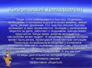 Холерический темперамент Люди этого темперамента быстры, подвижны, возбудимы.