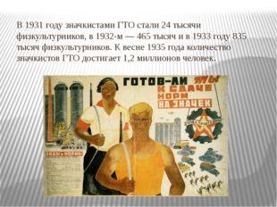В 1931 году значкистами ГТО стали 24 тысячи физкультурников, в 1932-м — 465 т