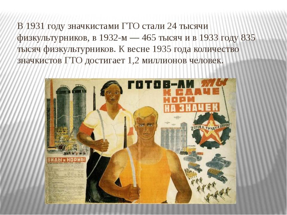 В 1931 году значкистами ГТО стали 24 тысячи физкультурников, в 1932-м — 465 т...