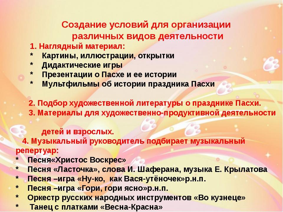 Создание условий для организации различных видов деятельности 1. Наглядный ма...