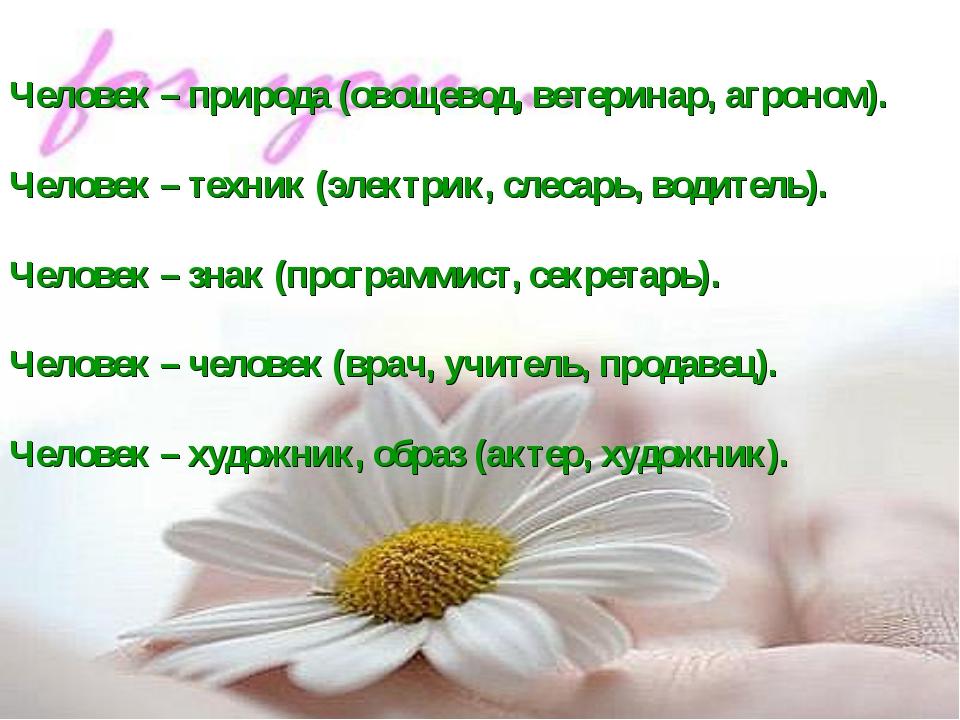 Человек – природа (овощевод, ветеринар, агроном). Человек – техник (электрик,...
