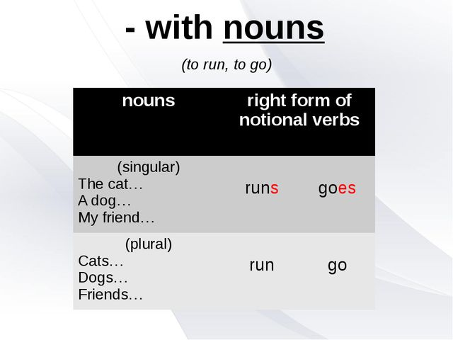 - with nouns (to run, to go) nouns right form of notional verbs (singular) Th...