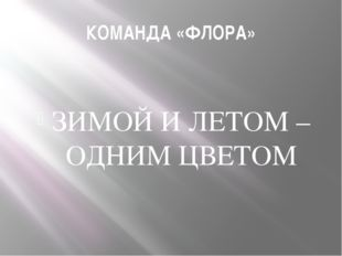 КОМАНДА «ФЛОРА» ЗИМОЙ И ЛЕТОМ – ОДНИМ ЦВЕТОМ