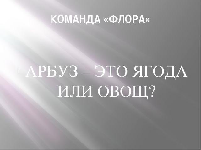 КОМАНДА «ФЛОРА» АРБУЗ – ЭТО ЯГОДА ИЛИ ОВОЩ?