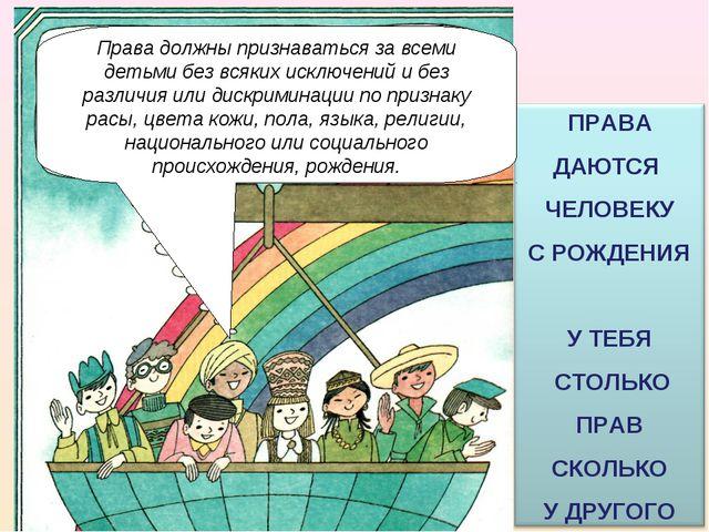 Права должны признаваться за всеми детьми без всяких исключений и без различи...