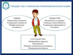 Стандарт как социальная конвенциональная норма СЕМЬЯ Личностная успешность Со