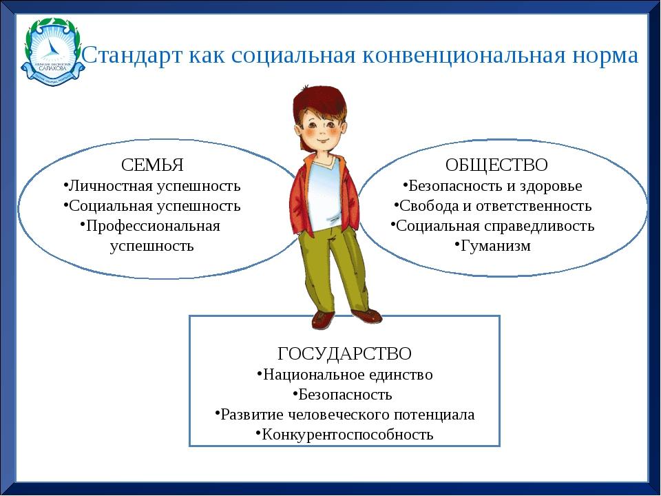 Стандарт как социальная конвенциональная норма СЕМЬЯ Личностная успешность Со...