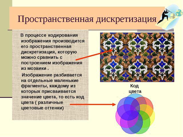 Пространственная дискретизация В процессе кодирования изображения производитс...