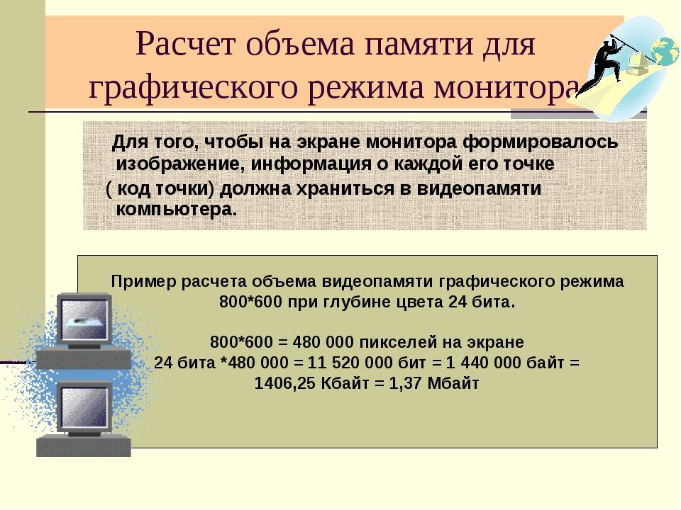 Расчет объема памяти для графического режима монитора Для того, чтобы на экра...