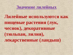 Значение лилейных Лилейные используются как пищевые растения (лук, чеснок), д